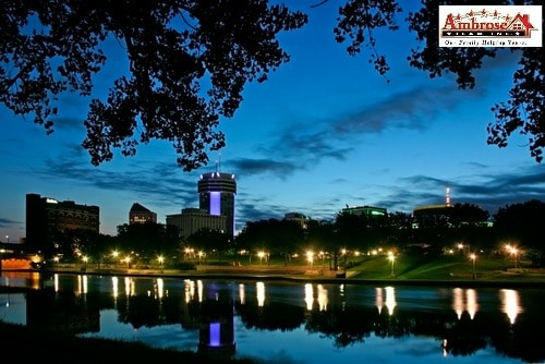 Wichita's skyline at night
